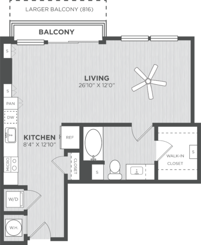 Studio one Bedroom floor plans at Alexan on 8th Luxury Apartment Community