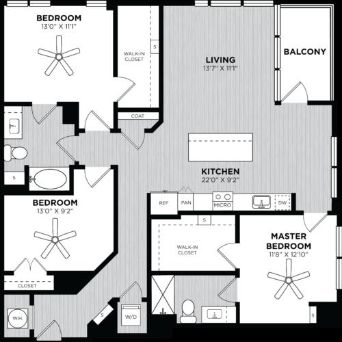 Three Bedroom floor plans at Alexan on 8th Luxury Apartment Community