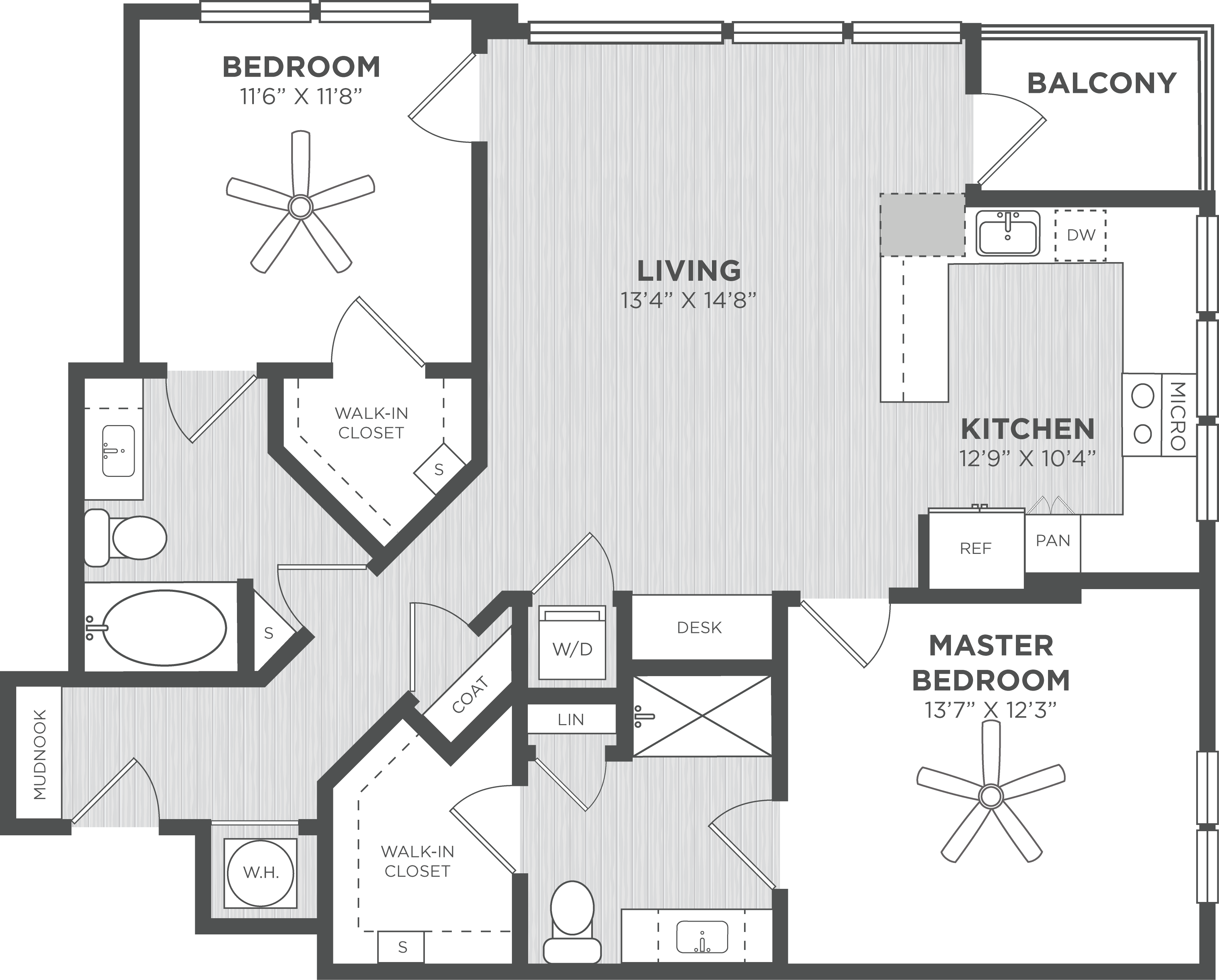 Two Bedroom floor plans at Alexan on 8th Luxury Apartment Community