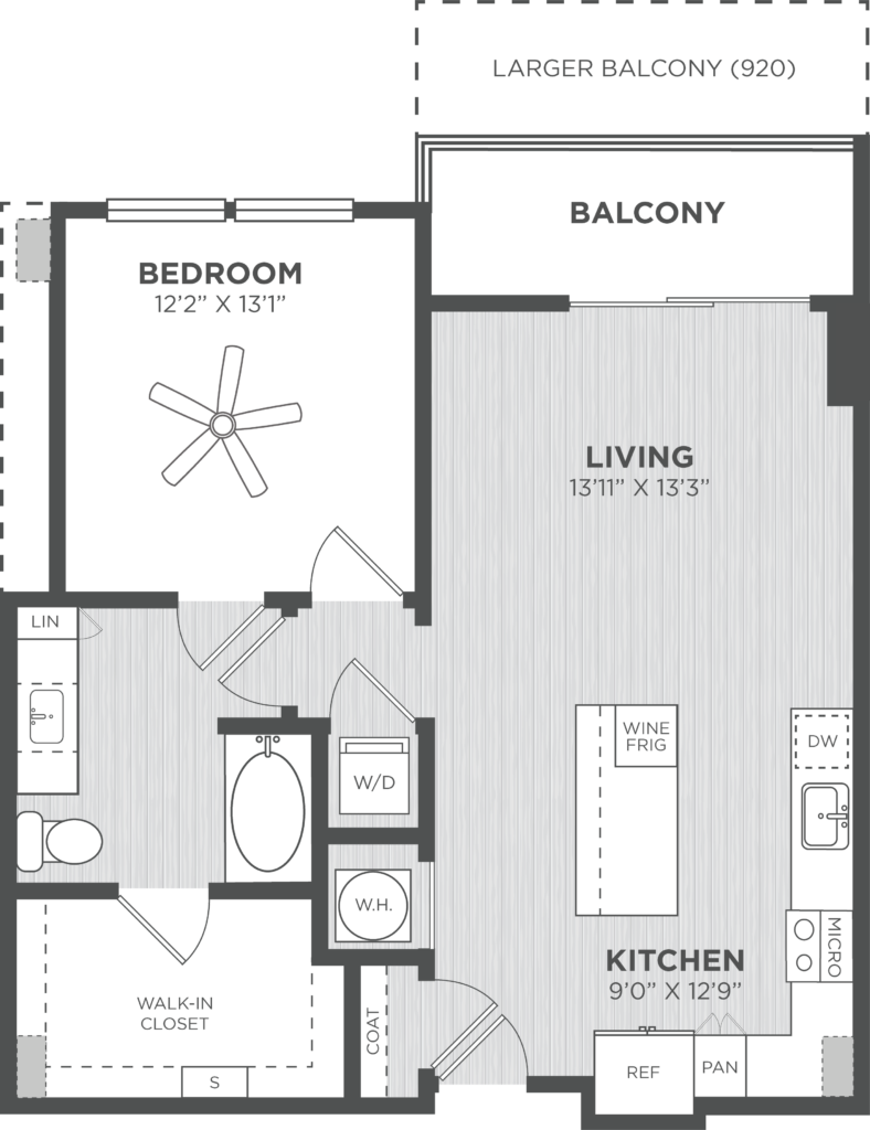 Chisel one bed/one bath floorplan at Alexan on 8th - Find Your Ideal Home