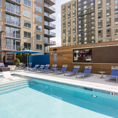 saltwater pool with movie screen at Alexan on 8th - No More Dull Downtime